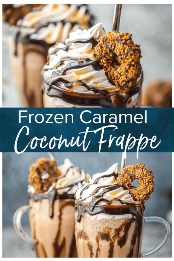 This Frozen Coconut Caramel Frappe recipe is the perfect morning treat to start your day! This easy frozen coffee drink is made with caramel cold brew concentrate & lots of other delicious ingredients!