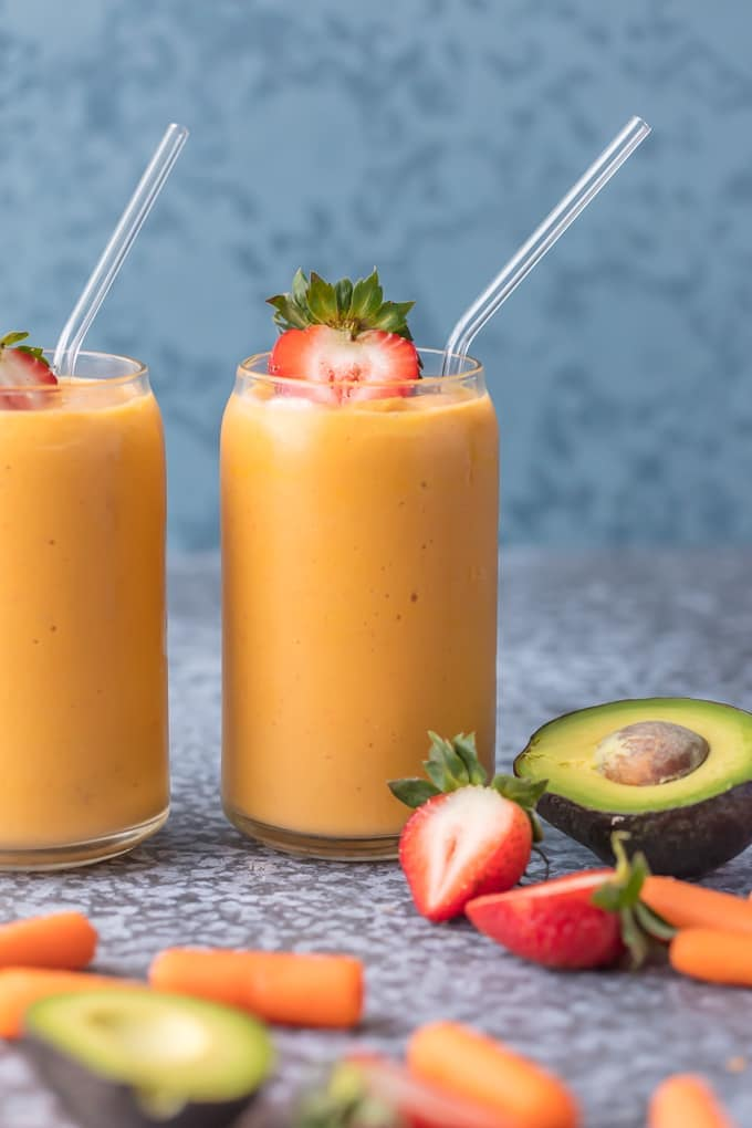 Coconut Water Smoothie with avocado, strawberries, carrots, and mango