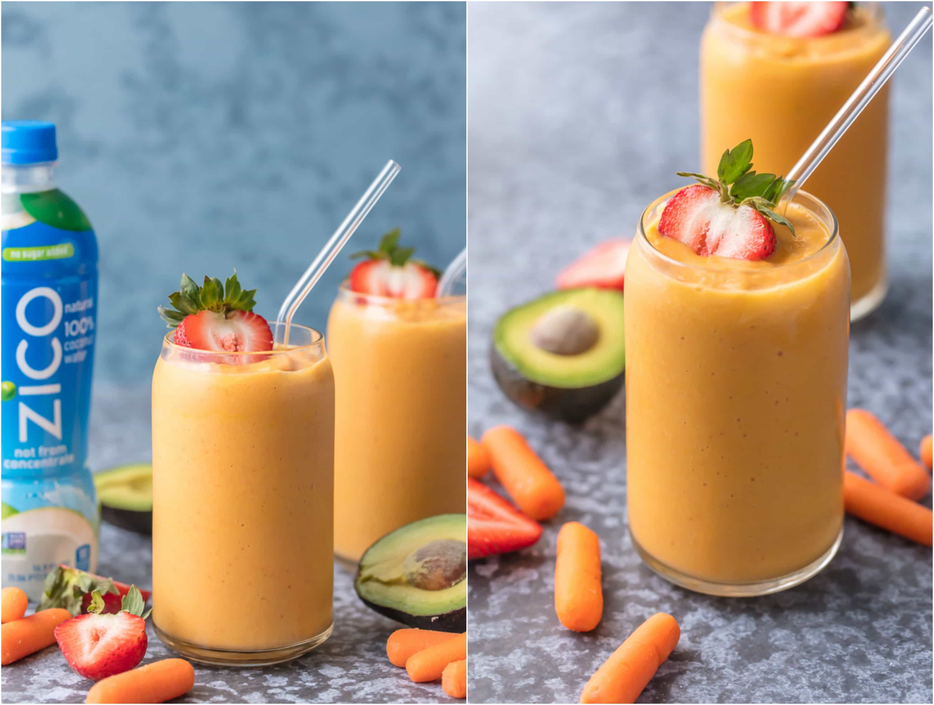This GLOWING SKIN SMOOTHIE is full of delicious ingredients like coconut water, strawberries, mangoes, carrots, and avocado! Sip your way to beautiful skin with this easy treat.
