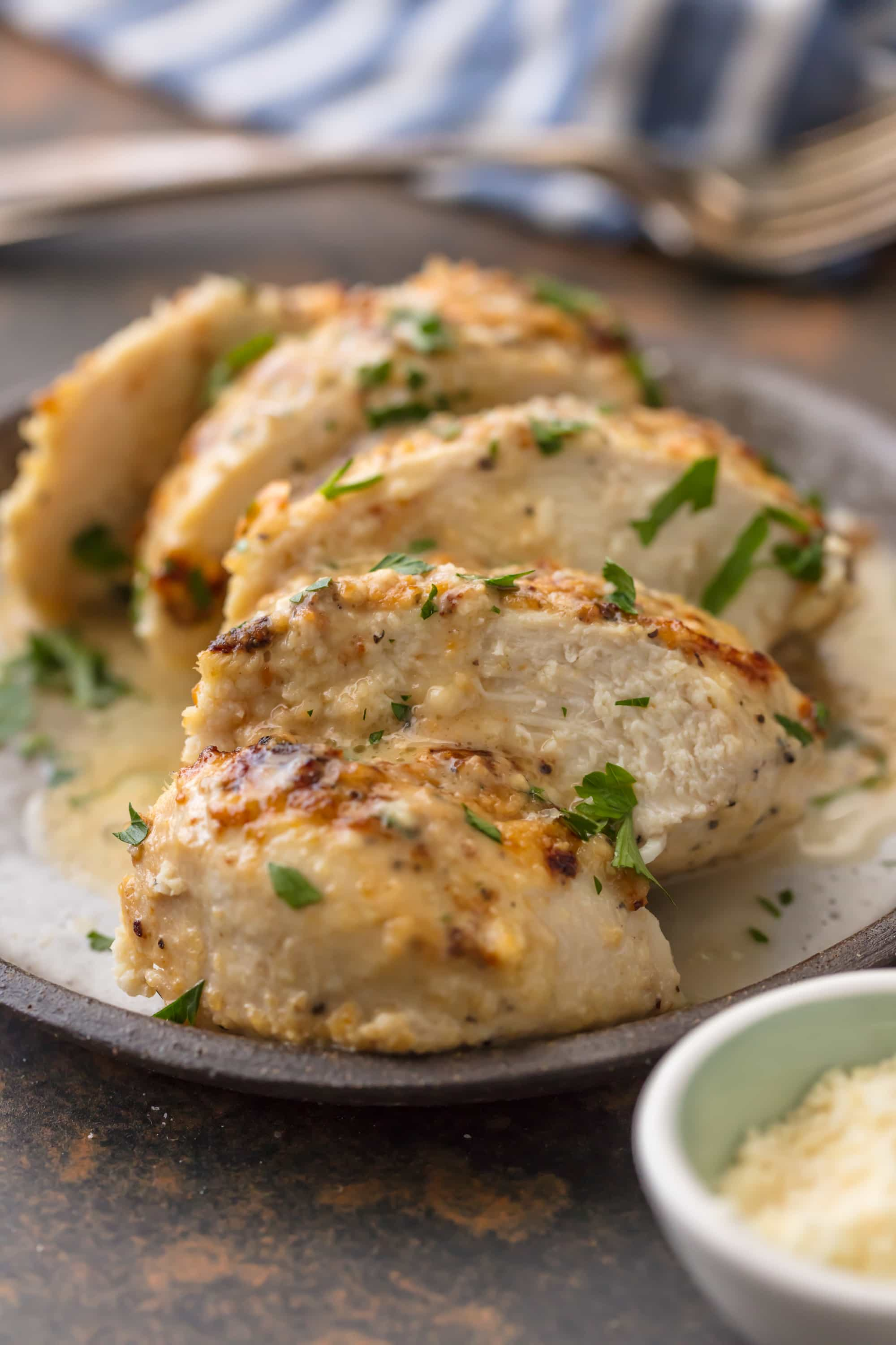 This MELT IN YOUR MOUTH CAESAR CHICKEN is made with only 3 ingredients (say WHAT?!) and is oh so tender and delicious. Easiest tastiest weeknight dinner ever.