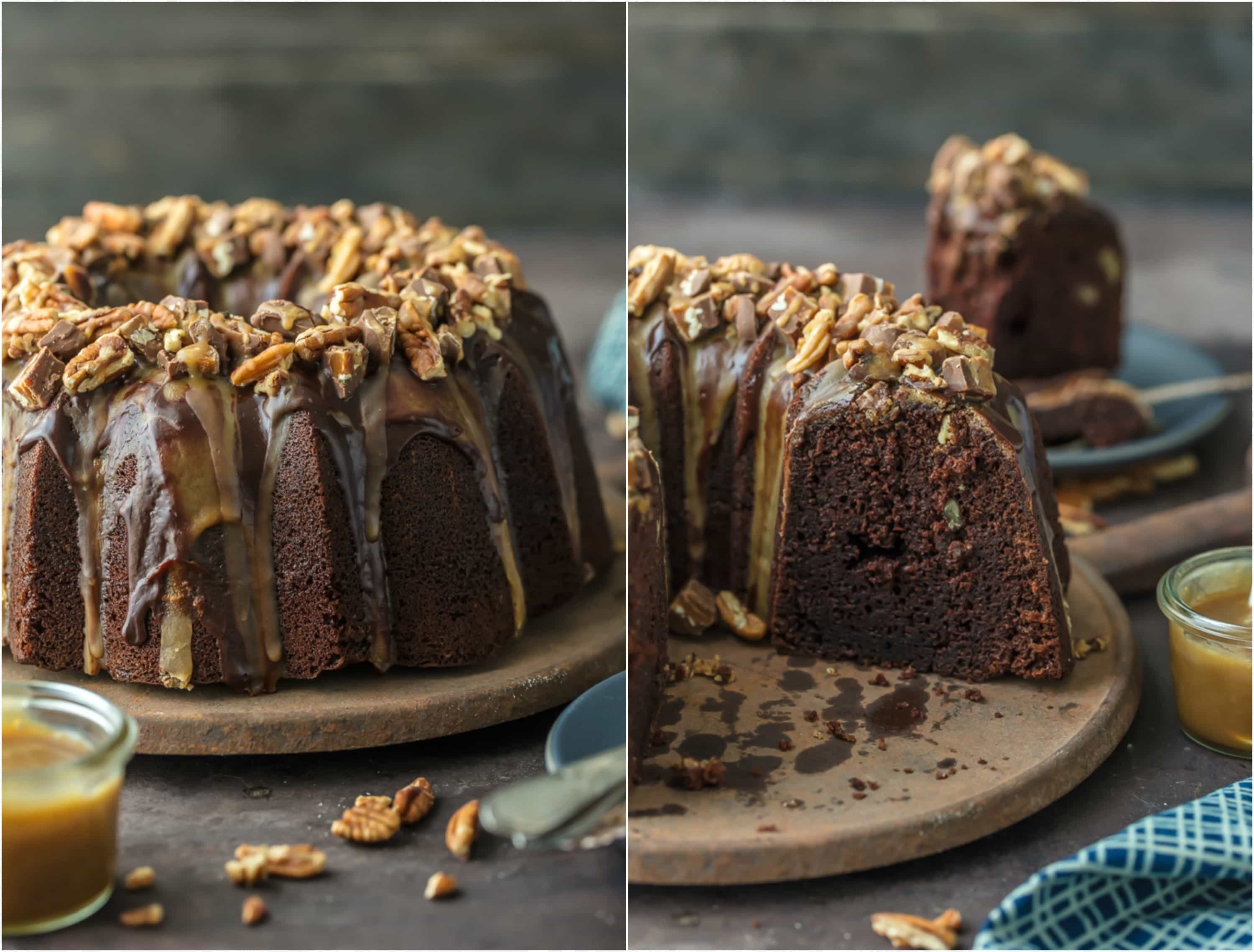 This TURTLE BROWNIE CAKE is a chocolate lovers dream. Dense and moist chocolate cake with walnuts and topped with the most incredible ganache and caramel drizzle. Crave worthy baking!