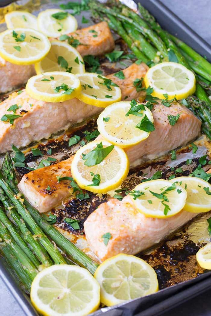Sheet Pan Lemon Garlic Salmon and Asparagus | Kristine's Kitchen