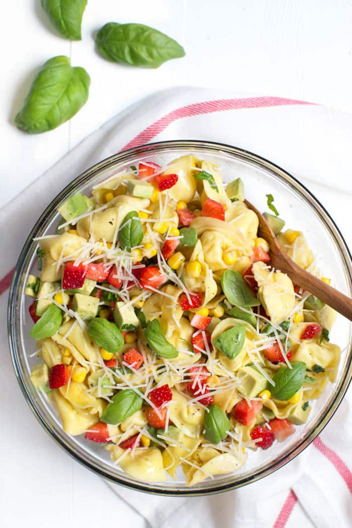 Strawberry Corn and Avocado Tortellini Salad | Spoonful of Flavor