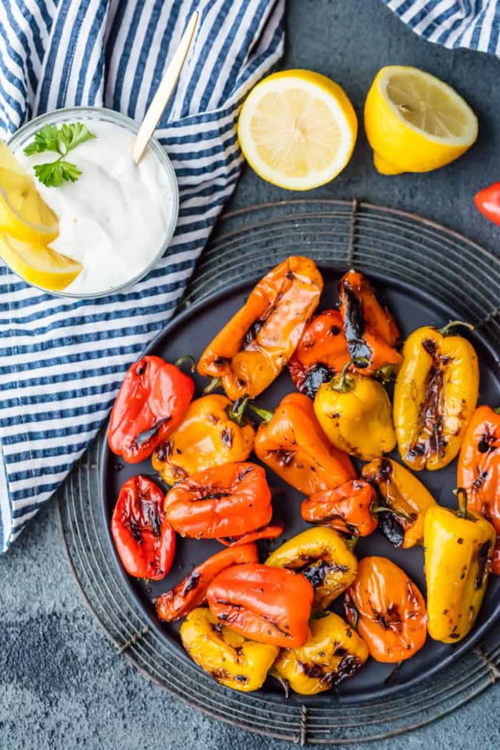 Blistered Sweet Peppers with Lemon Pepper Goat Cheese Dip | The Cookie Rookie