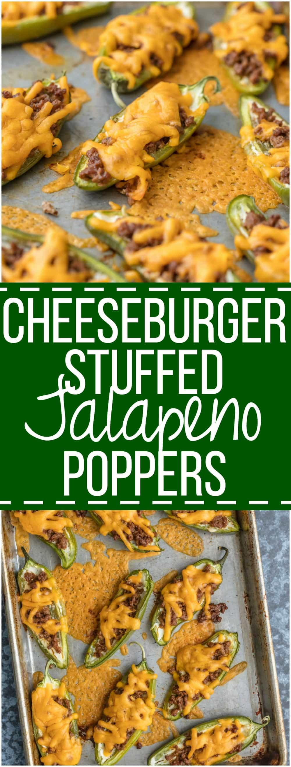 These CHEESEBURGER STUFFED JALAPENO POPPERS are a fun and delicious appetizer! We love these spicy bites for tailgating, parties, or a tasty night spent at home.