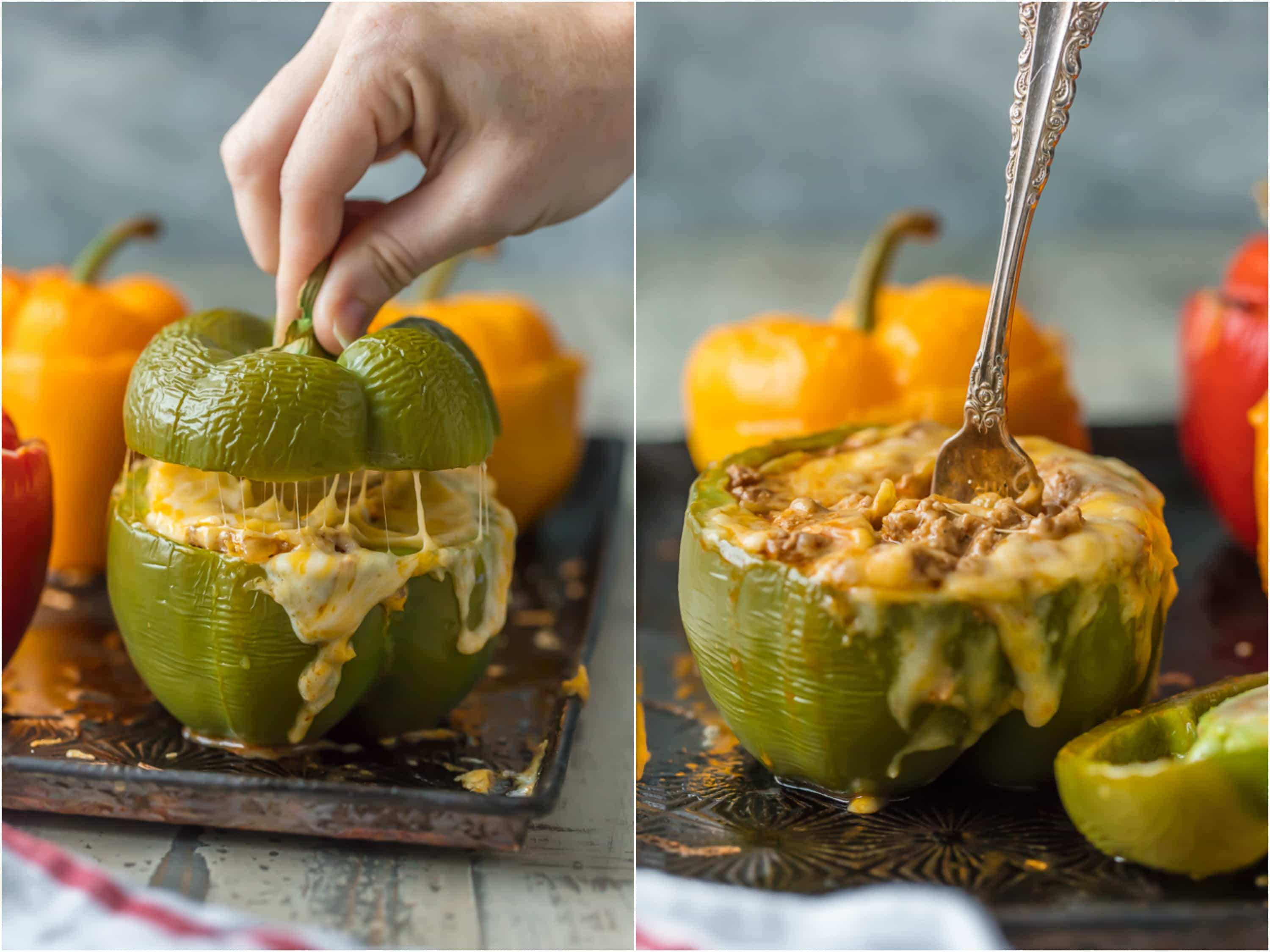 cheesy stuffed peppers on sheet pan