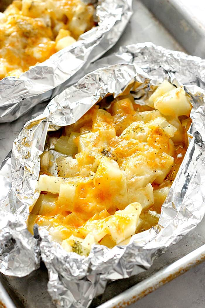 Cheesy Potato Foil Packs | Crunchy Creamy Sweet