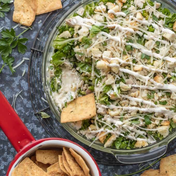 Caesar Salad Cream Cheese Chicken Dip Recipe (Caesar Salad