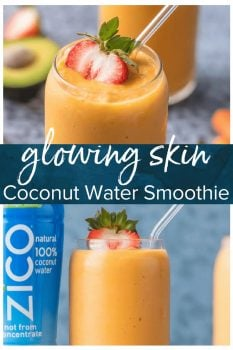 This Coconut Water Smoothie is full of delicious ingredients like coconut water, strawberries, mangoes, carrots, and avocado! Sip your way to beautiful skin with this healthy smoothie recipe!
