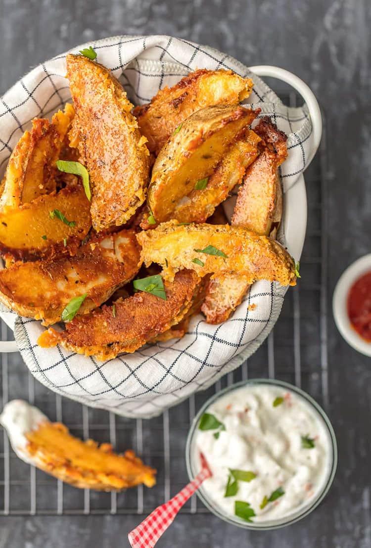 Crispy Parmesan Potato Wedges | The Cookie Rookie