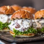 healthy chicken salad sliders on a dish