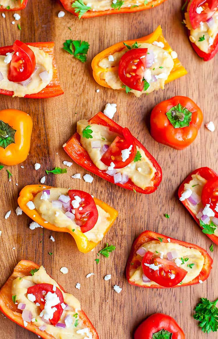 Healthy Hummus Stuffed Peppers | Peas and Crayons
