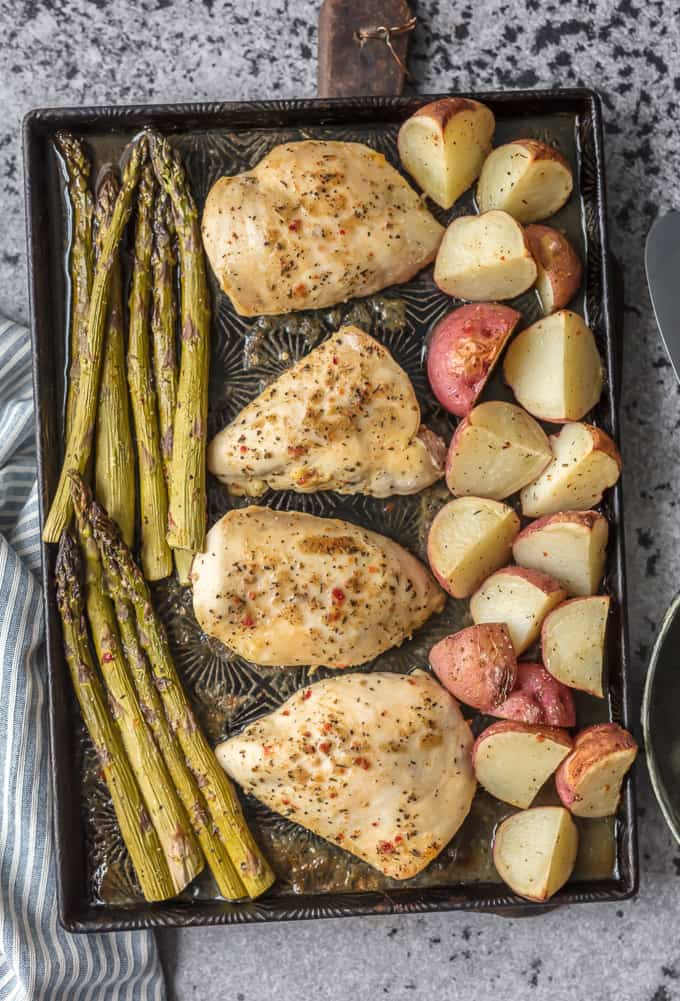 One Pan Chicken and Veggies on a baking sheet