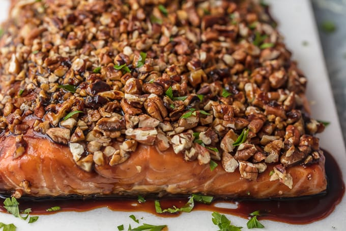 Honey Bourbon Salmon with pecan crust