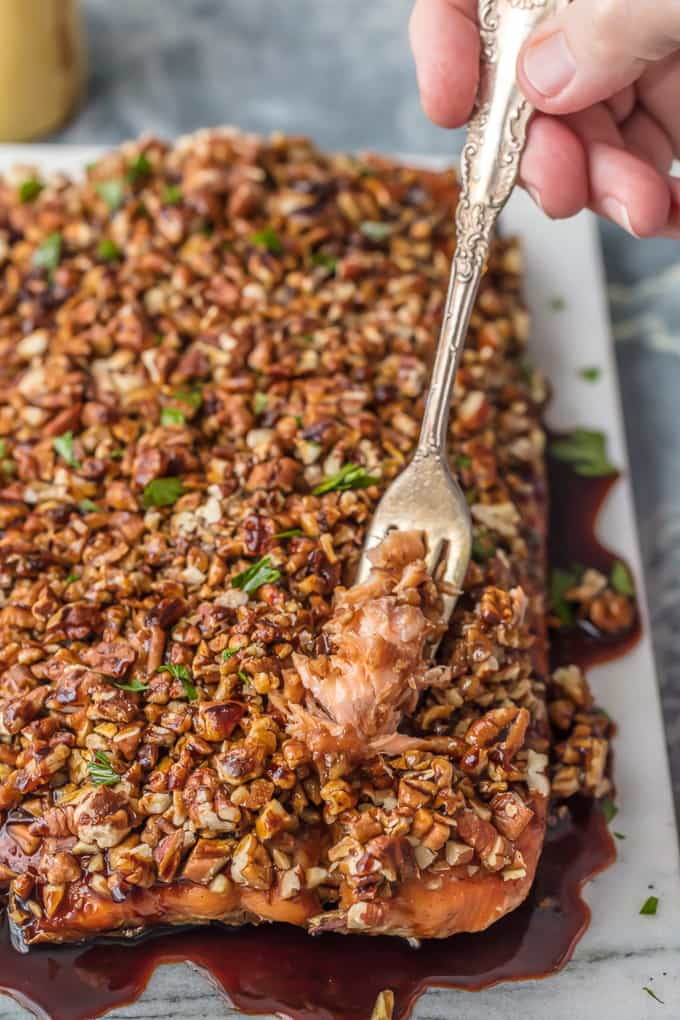 Pecan Crusted Honey Bourbon Salmon