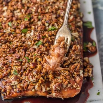 PECAN CRUSTED HONEY BOURBON SALMON is ultra delicious and easy! This pecan crusted salmon is the perfect family meal with all of the flavor and none of the fuss.