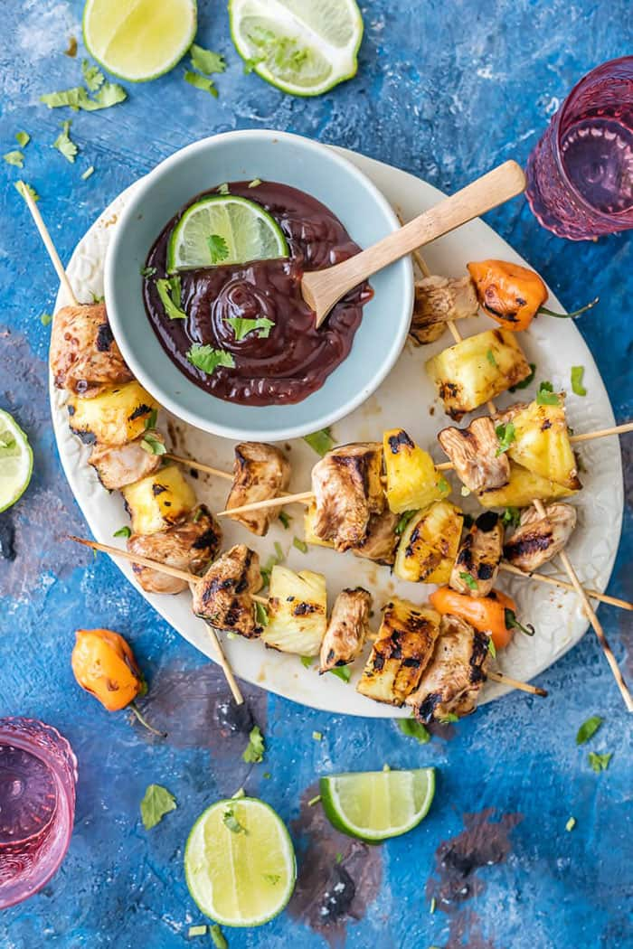 Pineapple Habanero BBQ Chicken Kebabs | The Cookie Rookie