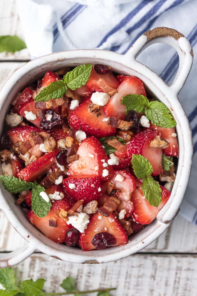 Strawberry bacon salad with balsamic vinaigrette salad dressing