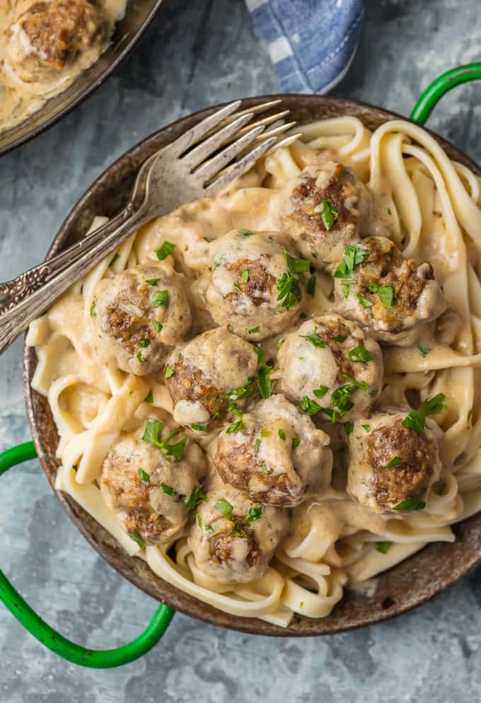 swedish meatballs in sauce over pasta