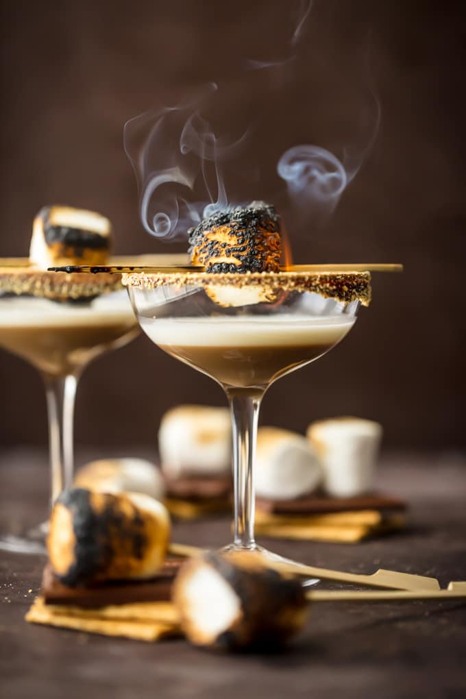 Marshmallow Vodka Martinis with toasted marshmallows