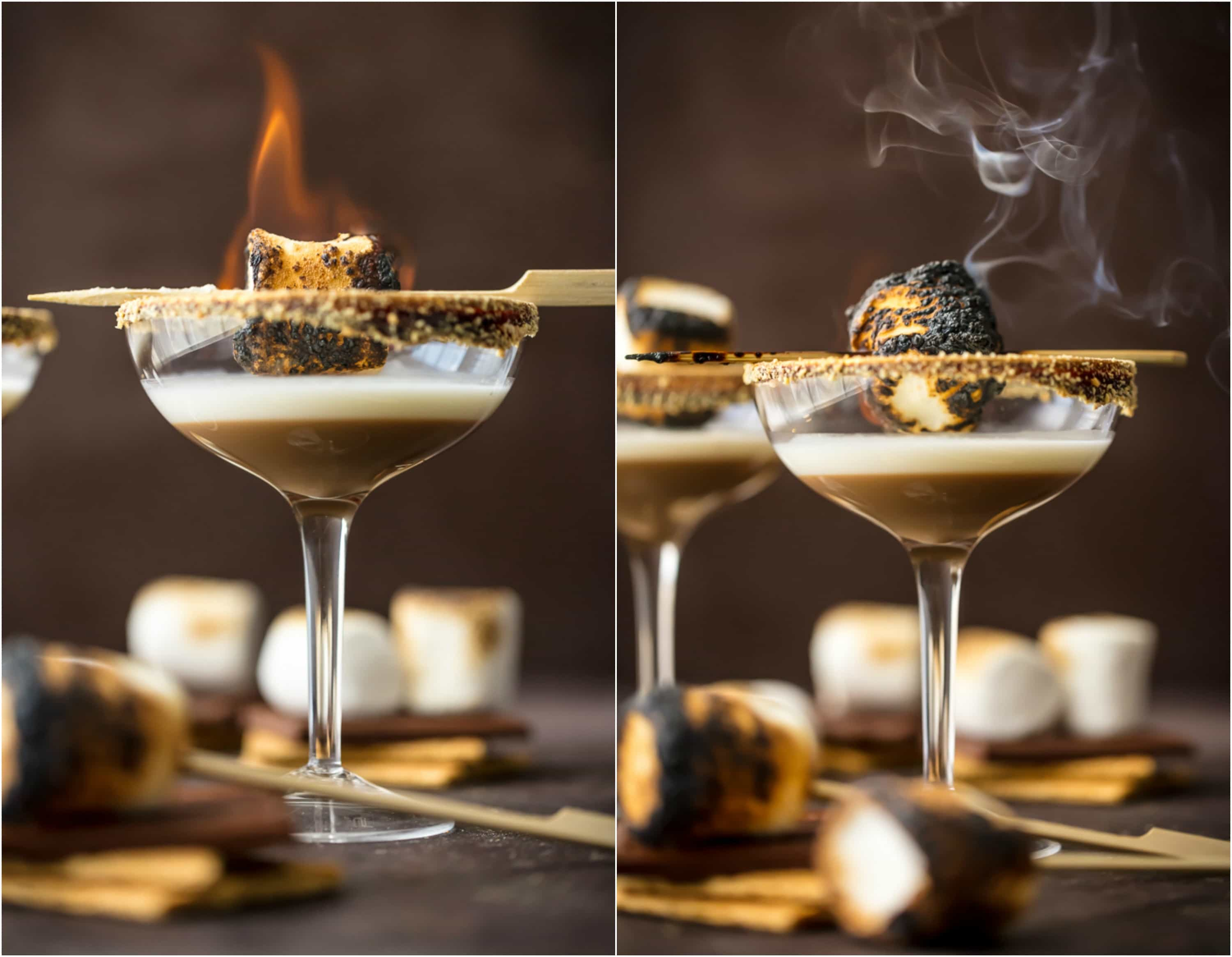 marshmallow being toasted in cocktail