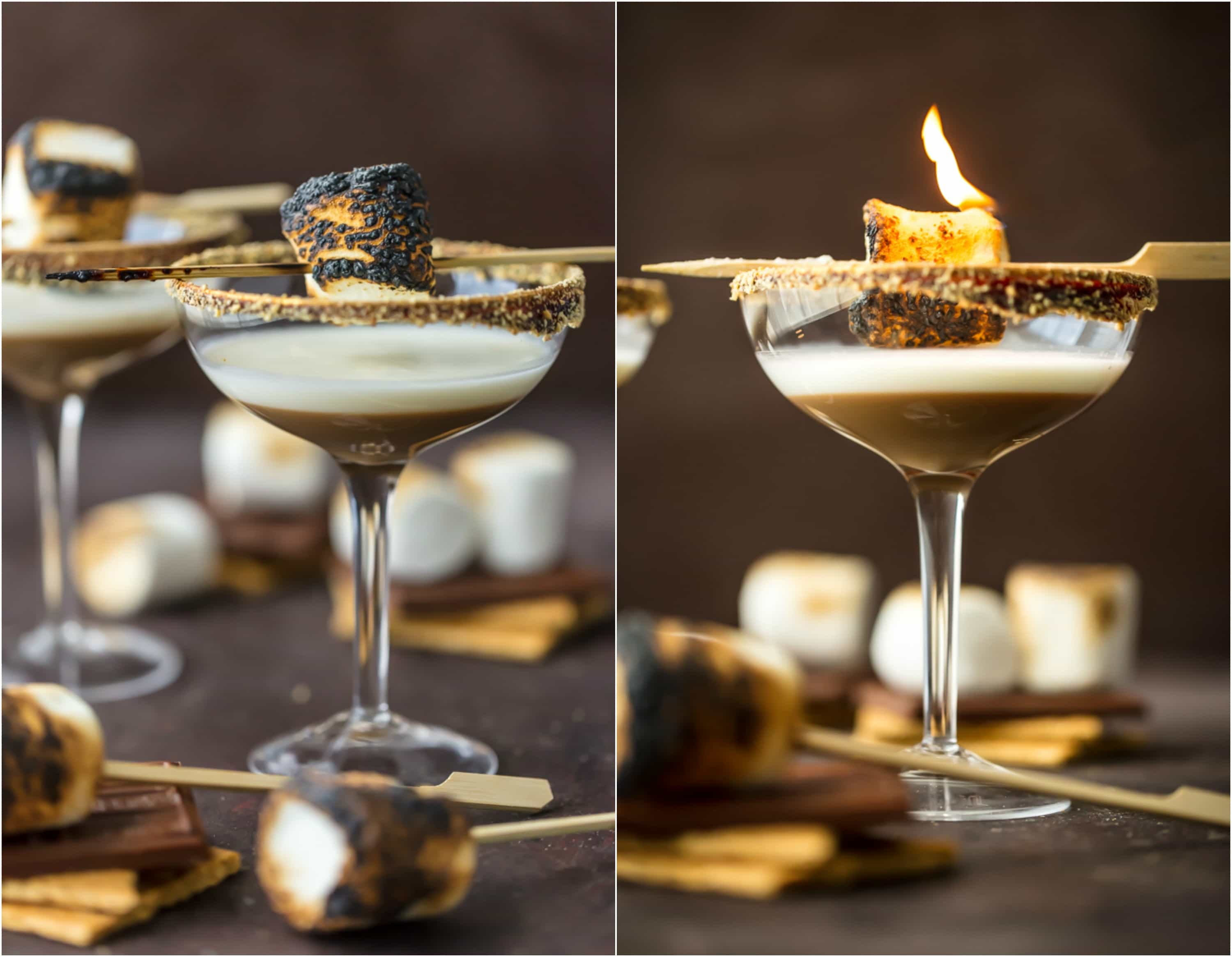 toasted smores cocktails in glasses