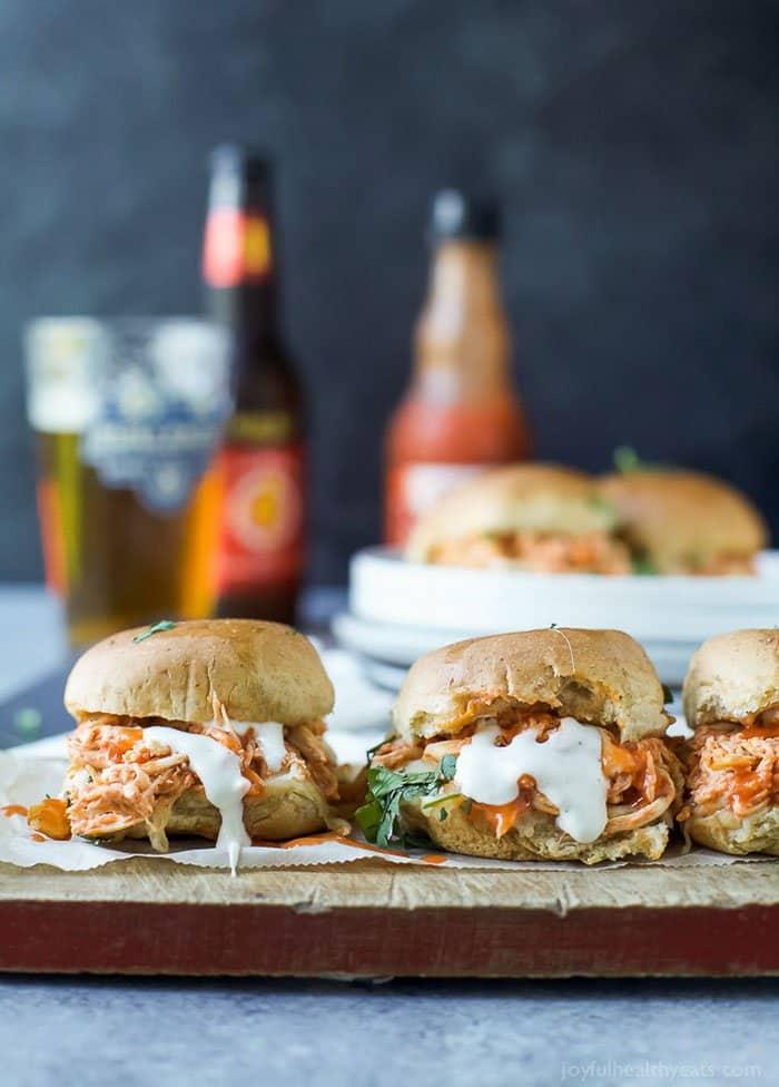 Cheesy Buffalo Chicken Sliders | Joyful Healthy Eats