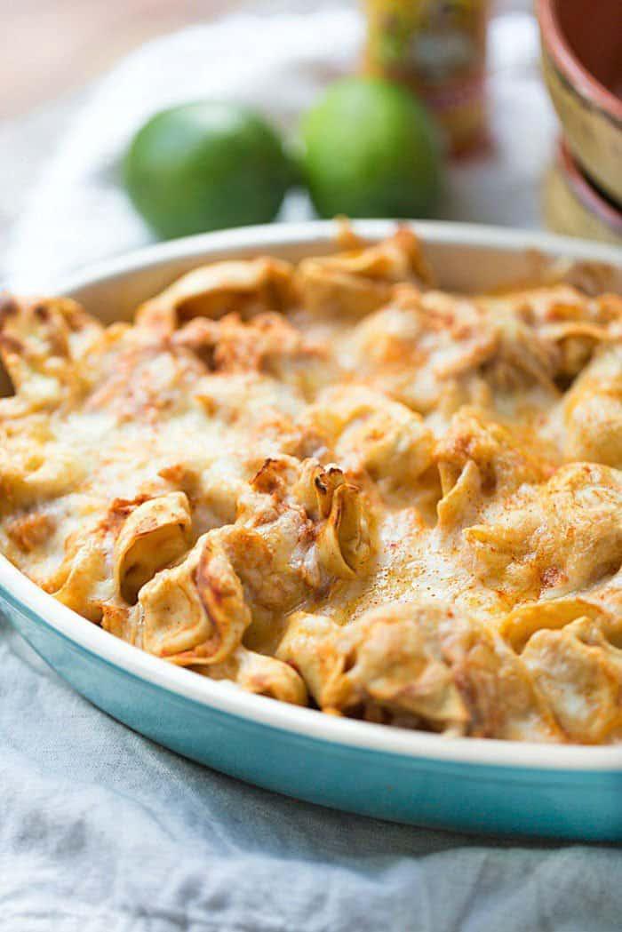 Chicken Enchilada Tortellini Bake | This Gal Cooks