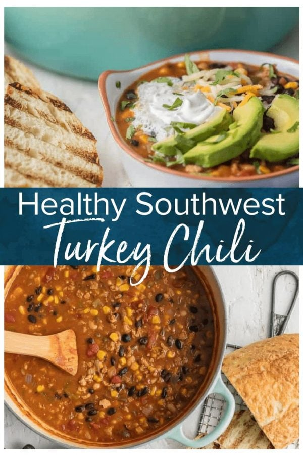 Turkey Chili is tasty way to make a healthy chili recipe. This Healthy Turkey Chili Recipe is such a delicious and flavorful one pot recipe. This Southwest Turkey Chili recipe packs so much flavor with so little effort. I just love the flavors in this Healthy Turkey Chili and love that you can feel great about this good for you comfort food!