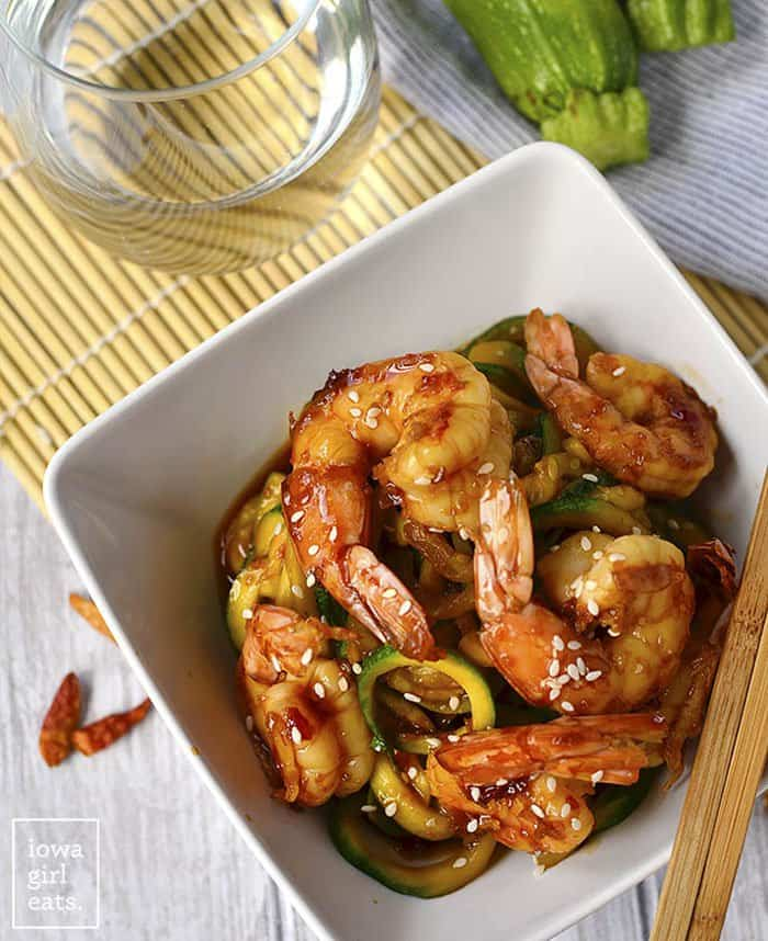 Sweet Chili Sesame Shrimp and Zoodles | Iowa Girl Eats