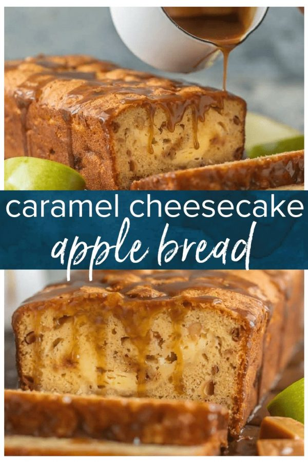APPLE BREAD is a must make for Fall, and this Caramel Cheesecake Stuffed Apple Bread is my new favorite recipe. This moist caramel apple bread is more like a chunky apple cake, stuffed with real apples, caramel pieces, and caramel cheesecake. Plus it's topped with a delicious caramel glaze. I'm obsessed! It's perfect for dessert or an indulgent breakfast.