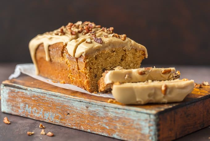 Sliced brown sugar pound cake on cutting board