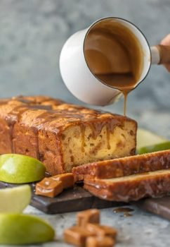 loaf of bread with caramel being poured on top