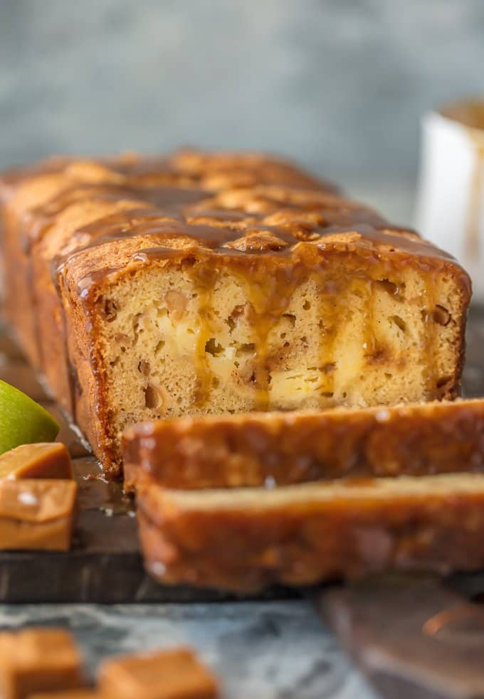Sliced caramel apple bread on a cutting board