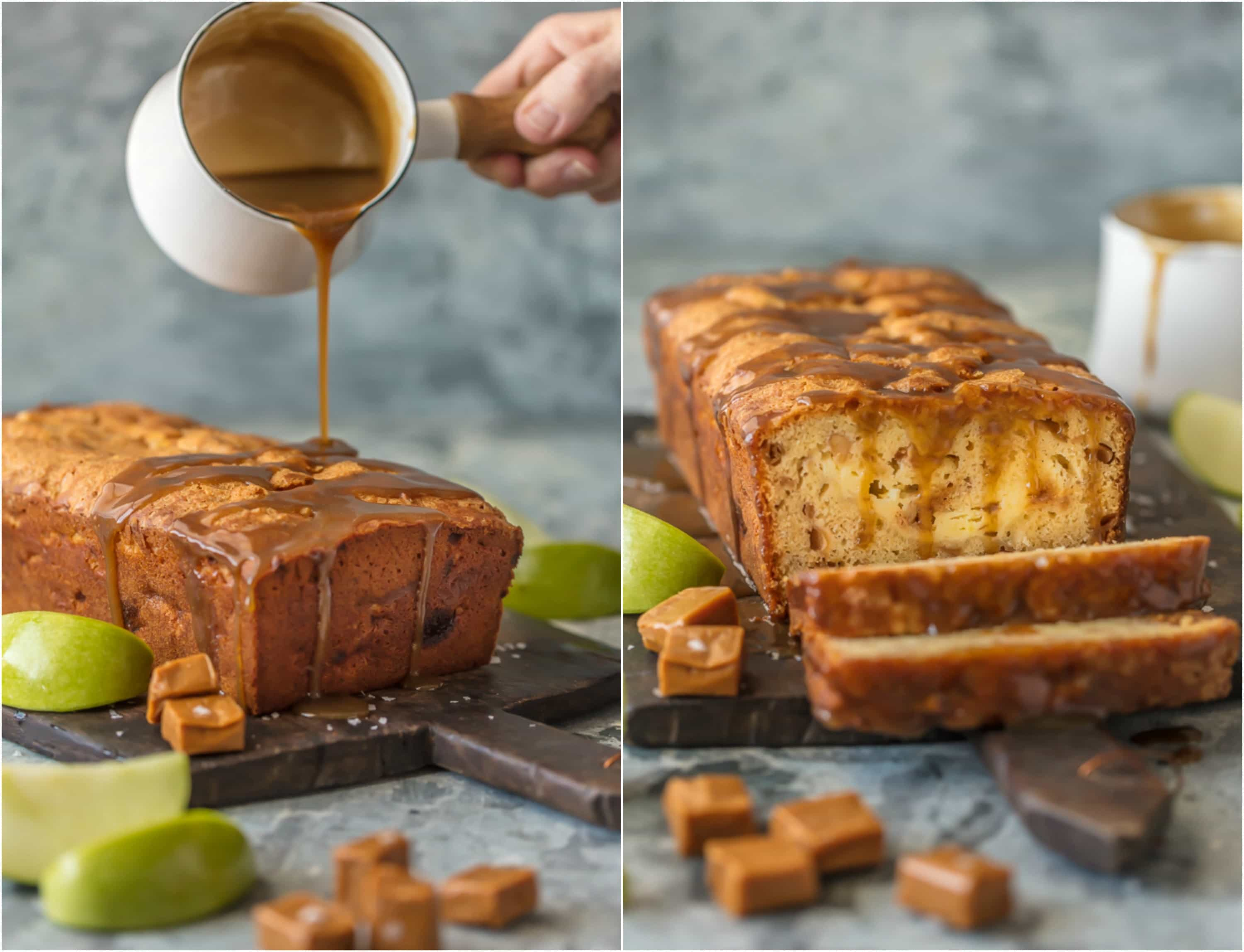 caramel cheesecake stuffed apple bread being drizzled with caramel