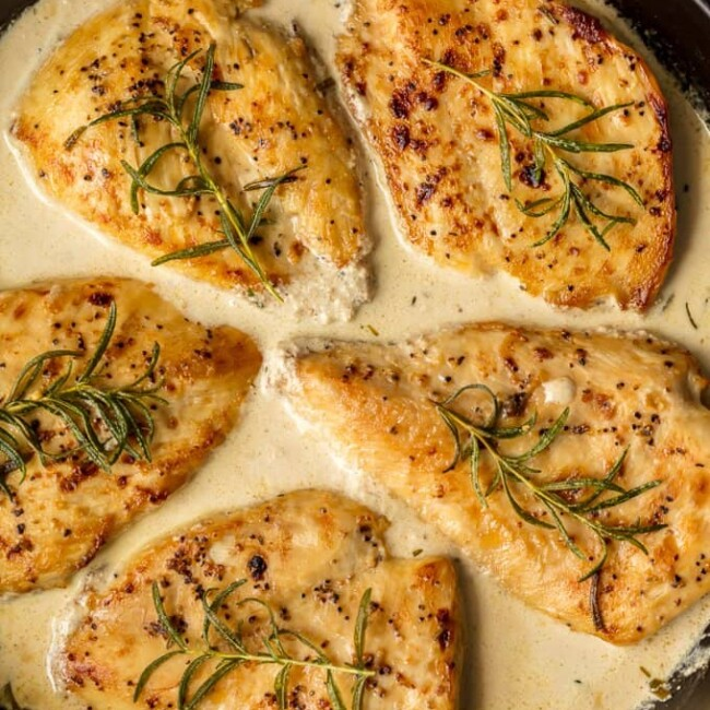 This CREAMY WHITE WINE DIJON CHICKEN with rosemary is sure to make the weekly rotation on your dinner menu. Utterly delicious, easy, and sure to please.