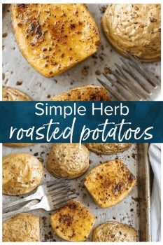 These BEST HERB ROASTED POTATOES are utterly amazing and delicious. This simple side is perfect with so many dishes. This will be your go-to potato recipe!
