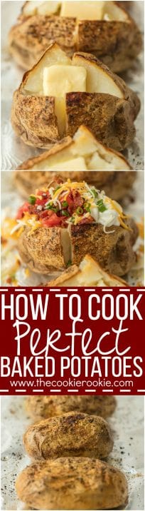 Everyone should know HOW TO COOK PERFECT BAKED POTATOES! These potatoes turn out tender, flavorful, and perfect every single time. Top with all the fixings and dig in!