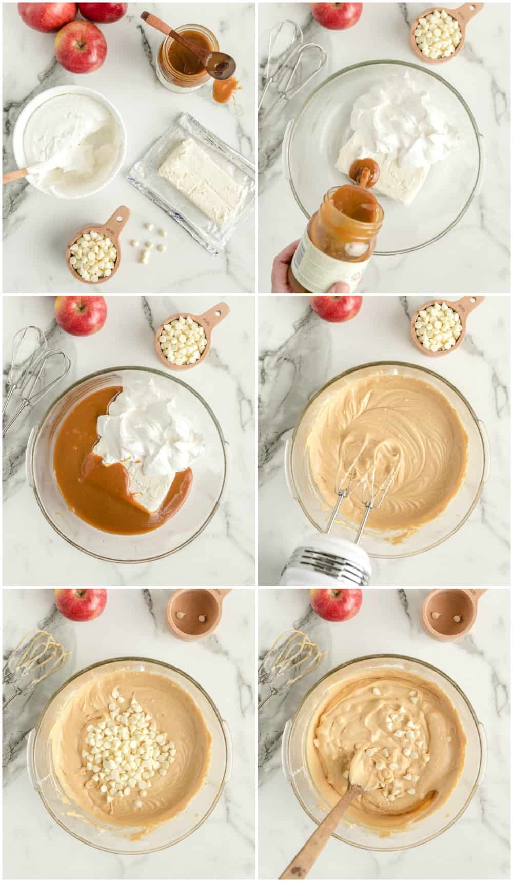 how to make caramel apple dip step by step process shots