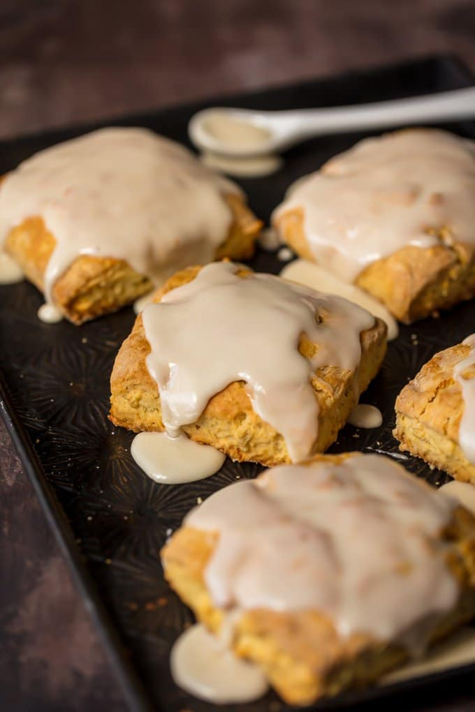 Maple Oat Scones on a baking tray