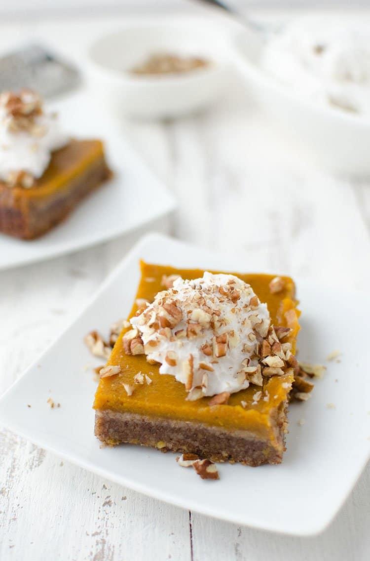 Vegan Pumpkin Pie Pecan Bars | Delish Knowledge