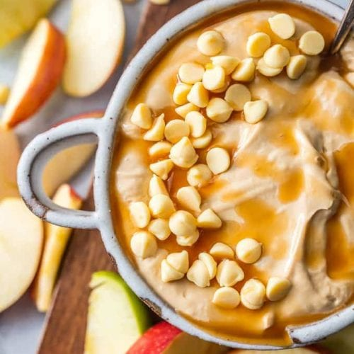 view of caramel apple dip with white chocolate chips