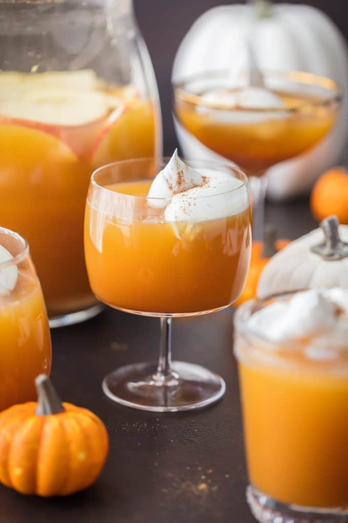 Pumpkin Pie Punch topped with whipped cream