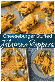 This CHEESEBURGER STUFFED JALAPENO POPPERS recipe is a fun and delicious game day appetizer! We love these spicy bites for tailgating, parties, or a tasty night spent at home.