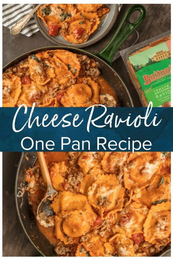 CHEESE RAVIOLI is a classic pasta dish, but I took it up a notch with this One Pan Cheese Ravioli Skillet. It's loaded with cheese-stuffed ravioli, Italian sausage, more cheese, tomatoes, and basil. It's a simple and fun one pan dinner that everyone will ask for again and again. This cheese ravioli recipe is sure to please the entire family!