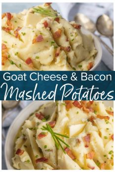 Cheesy Mashed Potatoes with Goat Cheese and Bacon belong on every holiday table! You need these Bacon & Goat Cheese Mashed Potatoes if you're about to entertain friends or family! Bacon Mashed Potatoes are the ultimate side dish. This Mashed Potatoes Recipe is so creamy, flavorful, and delicious. THE BEST cheesy mashed potatoes recipe!