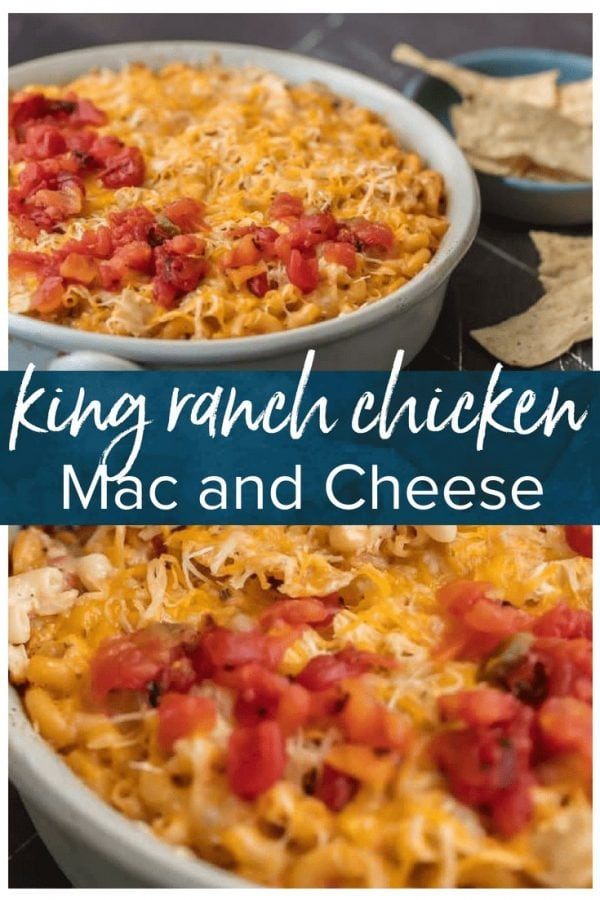 KING RANCH CHICKEN MAC AND CHEESE is a delicious twist on a classic. I wanted to make a fun King Ranch Chicken Recipe that's filled with all those amazing ingredients that I love. This Chicken Mac and Cheese Casserole is loaded with creamy cheese, spicy tomatoes, chunky chicken, and so much more. It will be a family favorite from the first time you make it.