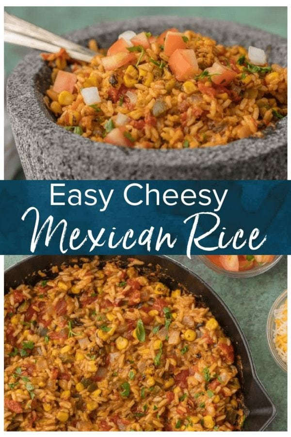 This Mexican Rice Recipe is our favorite Mexican side dish! We are obsessed with this cheesy Mexican Rice loaded with all the best ingredients; pico de gallo, cilantro, CHEESE, onion, corn, green chiles, and more. This easy Mexican Rice Recipe is one of the best side dish recipes for Cinco de Mayo.