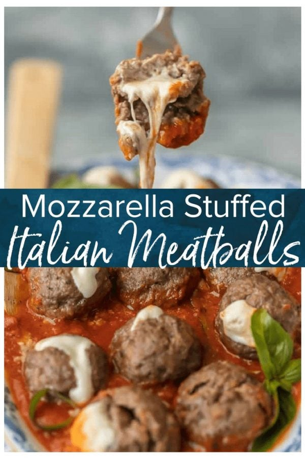 MOZZARELLA STUFFED MEATBALLS are the ultimate appetizer! Theses Italian meatballs are stuffed with whole milk mozzarella and they are oh so juicy and tender. You better make a double batch of these Mozzarella Meatballs if you want them to last!