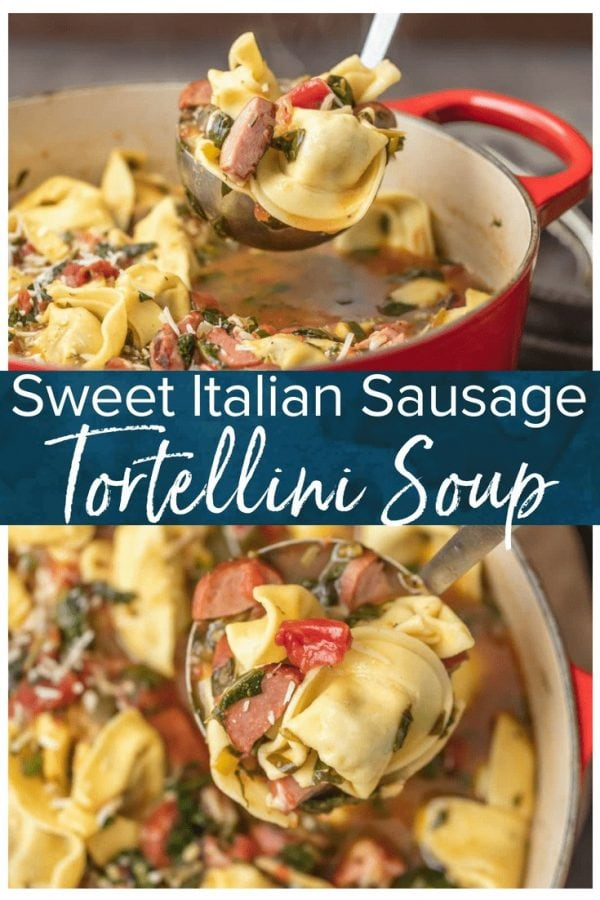 SAUSAGE TORTELLINI SOUP is such an easy and delicious soup to throw together on busy days! This Sweet Italian Sausage Recipe is bursting with that classic Italian flavor. I love it! Using a pre-made stuffed pasta for this Sweet Italian Sausage Tortellini Soup recipe helped make it extra simple AND extra tasty.